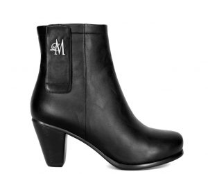 black chunky heel boots made with vegan leather