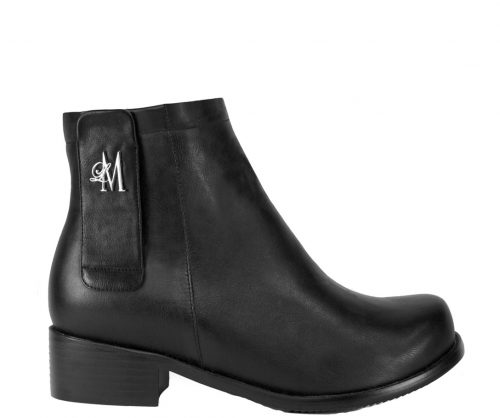 black ankle boots made with vegan leather