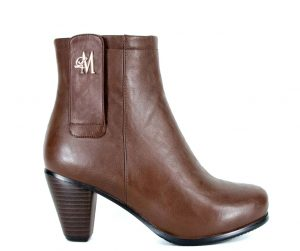 brown chunky heel boots made with vegan leather