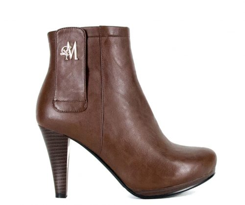 brown tapered heel boots made with vegan leather