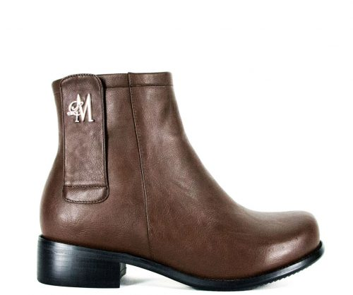 brown ankle boots made with vegan leather