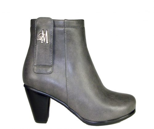 grey chunky heel boots made with vegan leather