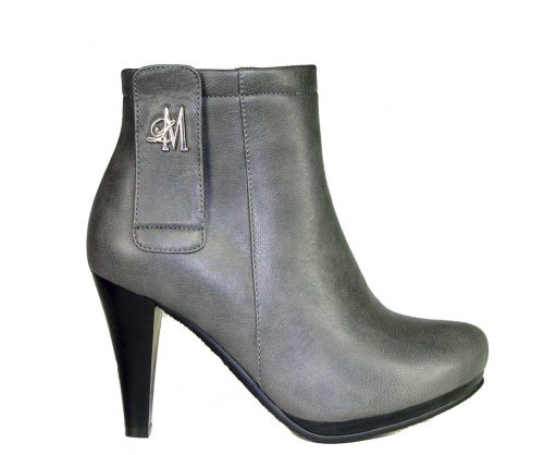 grey tapered heel boots with 3.5 inch heels.