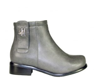 grey ankle boots made with vegan leather