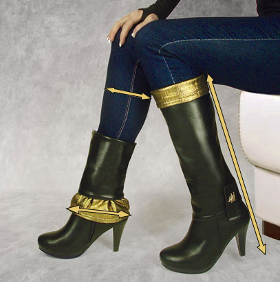 Llynda More black tapered heel boots and Golden Girl boot tops shown in two different configurations with jeans.