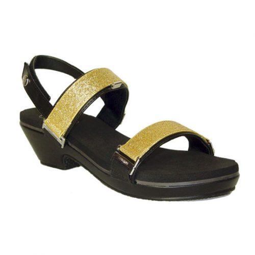 "1.5"" black tapered heel sandals"