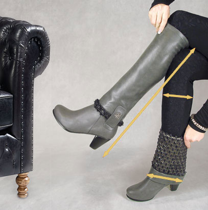Llynda More grey chunky heel boots with grey diamond boot tops shown in two different configurations with jeans.