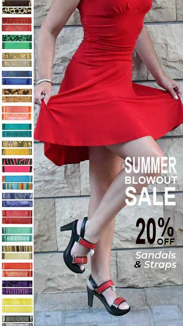 summer sale woman in red dress wearing sandals